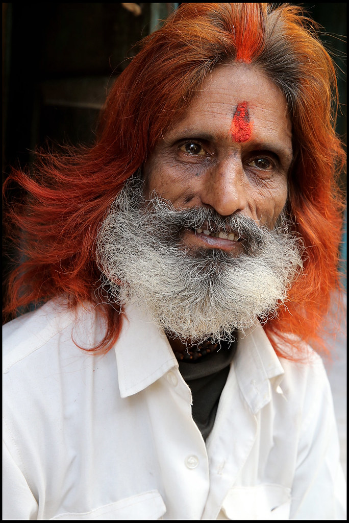 man with hair dyed with henna on a street of Lucknow, Indi… | Flickr