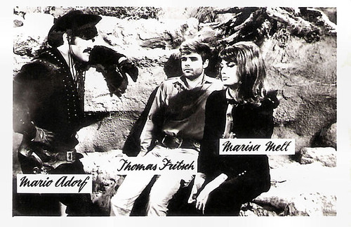 Mario Adorf, Thomas Fritsch, Marisa Mell in Der letzte Ritt nach Santa Cruz (1964)