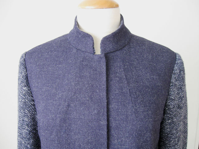 blue denim wool jacket close up collar front