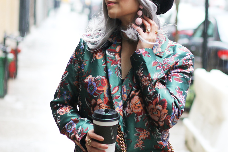 green-jacquard-suit-baublebar-pink-drop-earrings-9