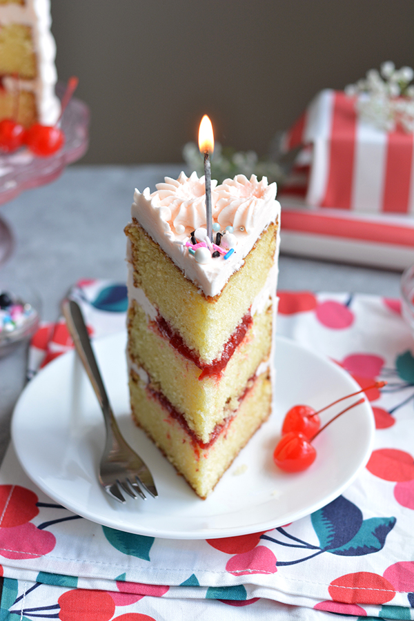 Cherry Birthday Cake - bethcakes.com