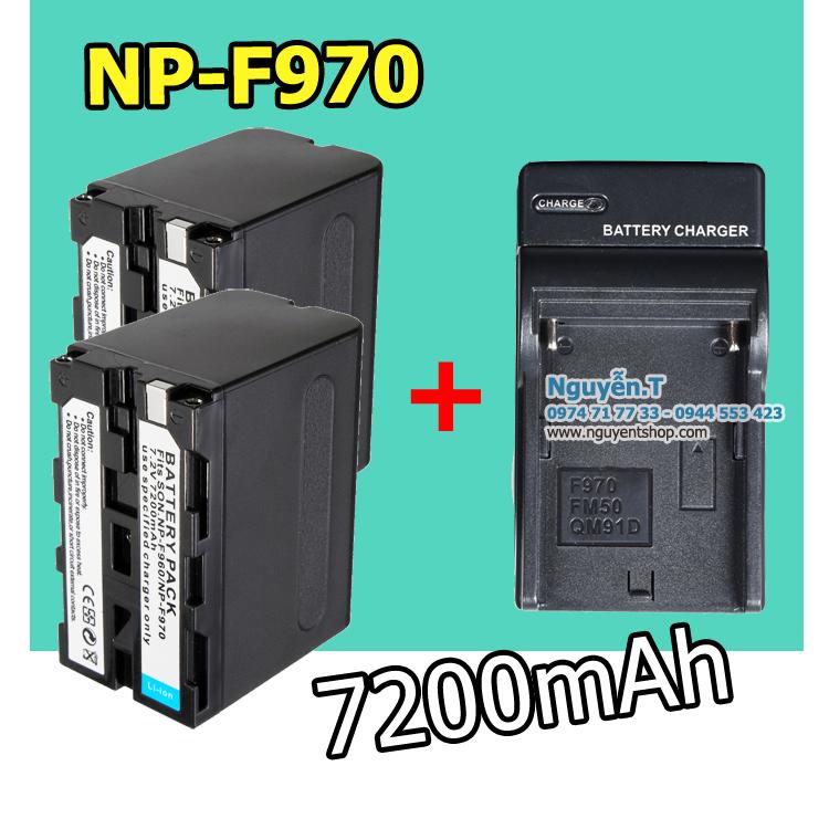 Bộ 2 pin 1 sạc NP F970 cho Led quay phim 7200mAh