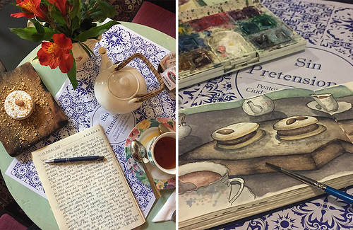 Capturing a scene from my new favorite café in Montevideo with my journal, and then three days later with my sketchbook. Artist Candace Rose Rardon