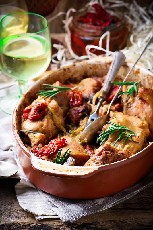 Braised rabbit  with vegetables.