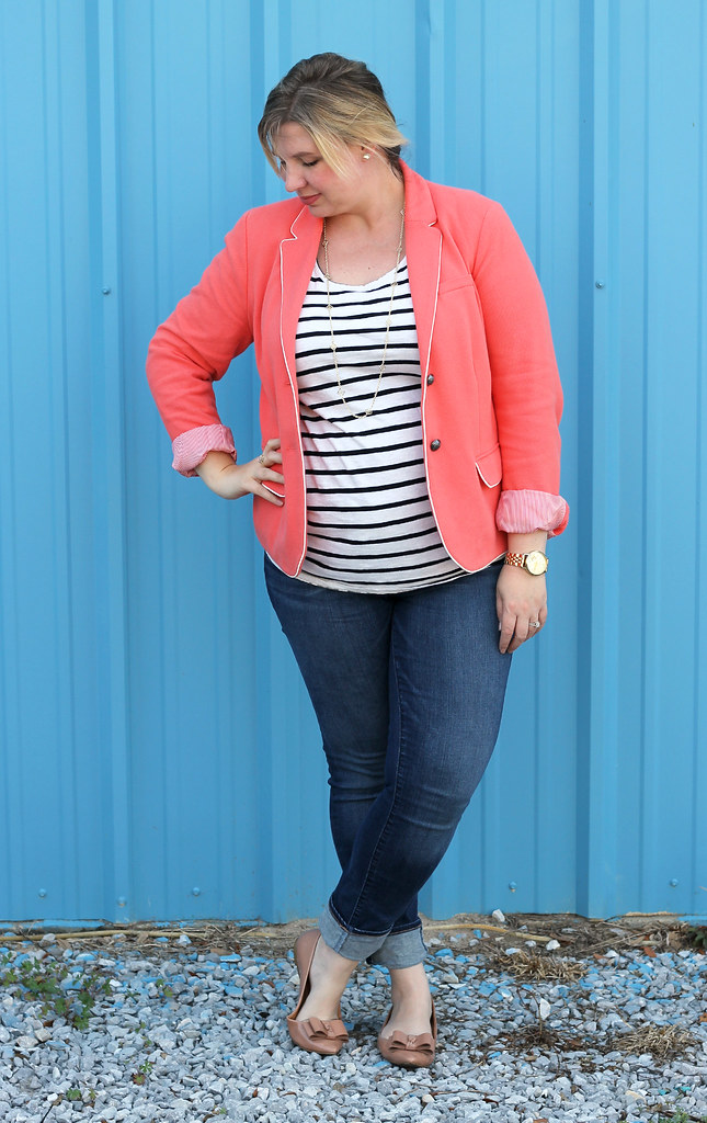 coral blazer, stripe tee and skinny jeans 7