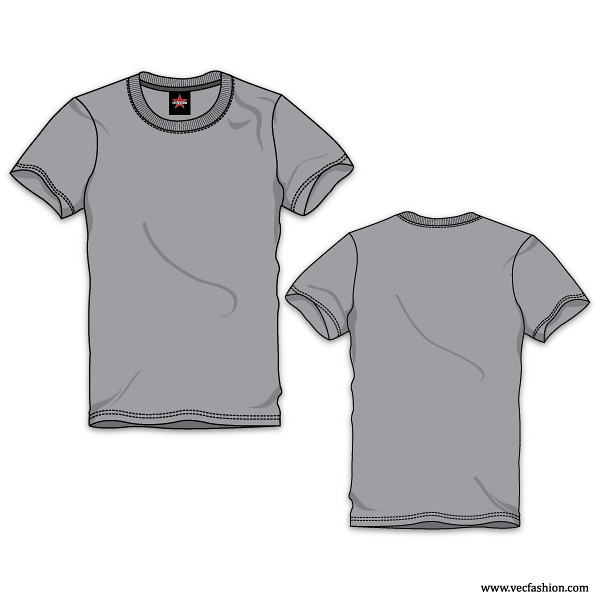 Mens Gray Round Neck T Shirt Vector Template