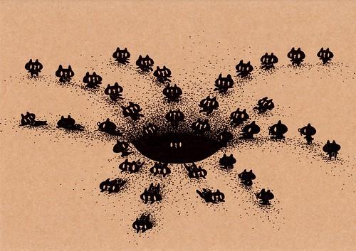 クラフト紙44_砂の穴に滑り込む黒プレーン