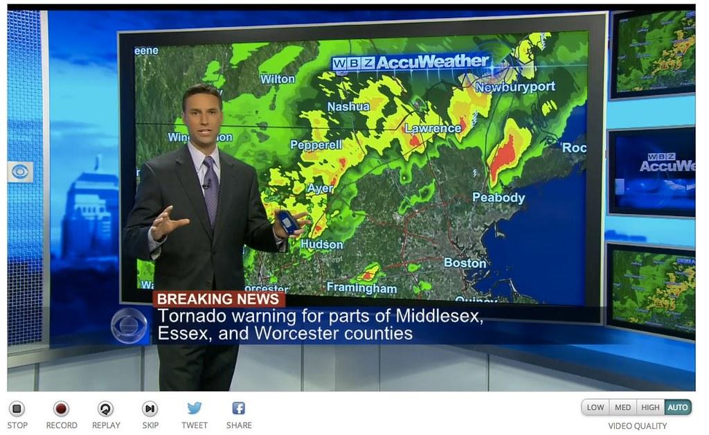 Watching Massachusetts Tornado Warning on WBZ TV via Aereo