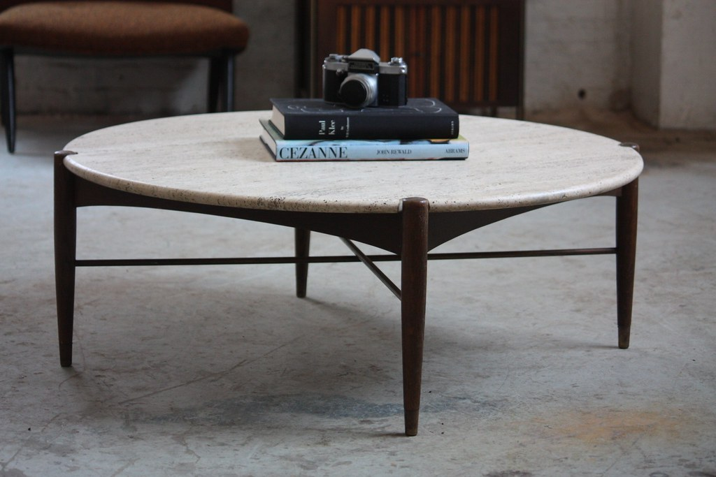 Merveilleux ... 1950s Blissful Bruno Mathsson Swedish Mid Century Modern Round  Travertine Brass Coffee Table (Sweden, 1950s