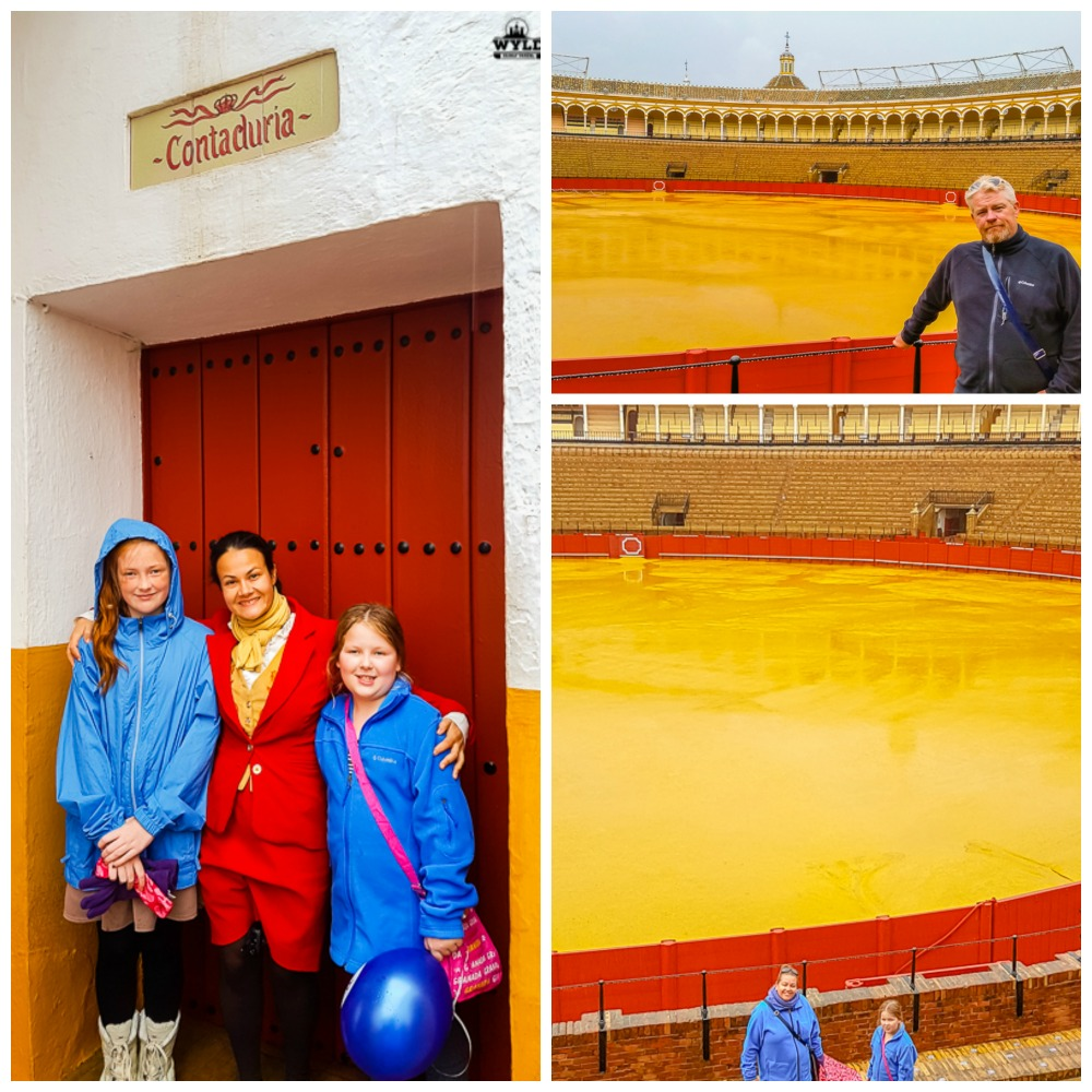 A set of pictures from our Seville Bullring Tour. the first is with our tour guide and the girls. the second is Mark outside of the bullring and the last is a view down towards the arena to show how big it is.