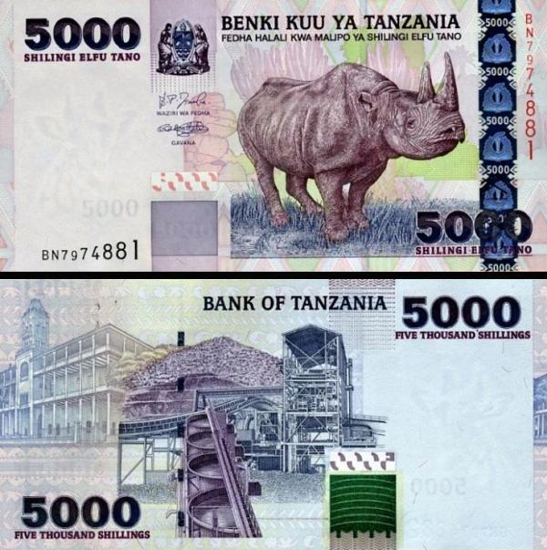 5000 Shillingi Tanzánia 2003, P38 UNC