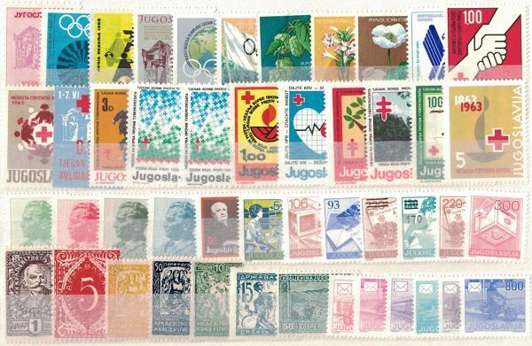 Známky Juhoslávia, rôzne série 47 ks narazítkované MINT