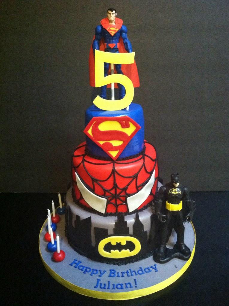 Superman Spider Man Batman Birthday Cake Kyle Emmas Mom Flickr