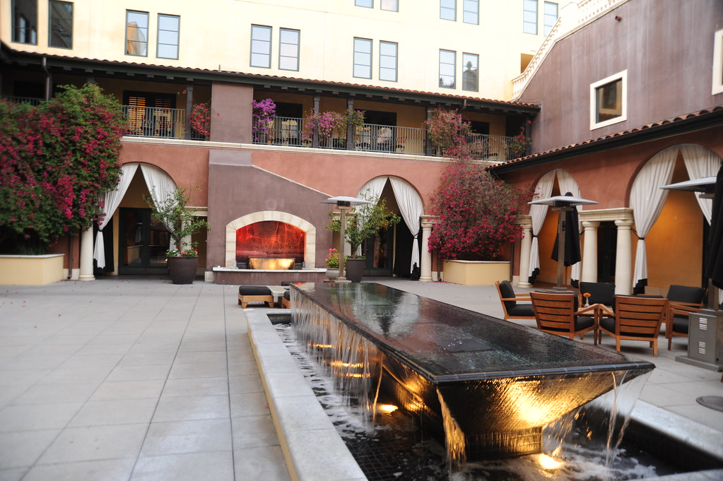 ... Columns Fountain Of Water, Underlit, Pool, Trees, Patio, Potted Plants,  Columns