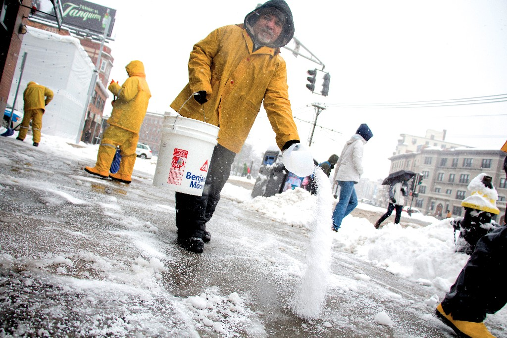 Spread Ice Melt Evenly to Avoid Damage to Your Home's Concrete Walkways