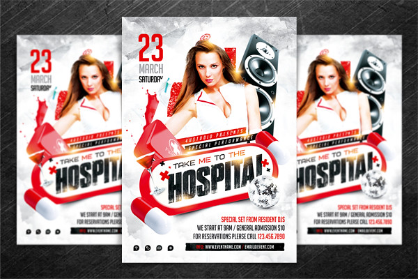 Hospital Party Flyer Psd Template  Hospital Party Flyer