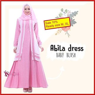 Gamis House Of Valisha Abila Dress Baby Blush Baju Gamis