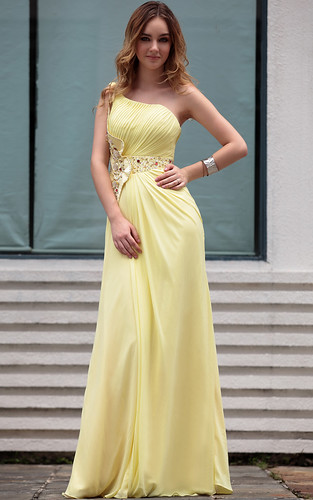 Hot Sale Modern One Shoulder Yellow With Ruffle Arabic Party Dresses For Women | by xubangwen