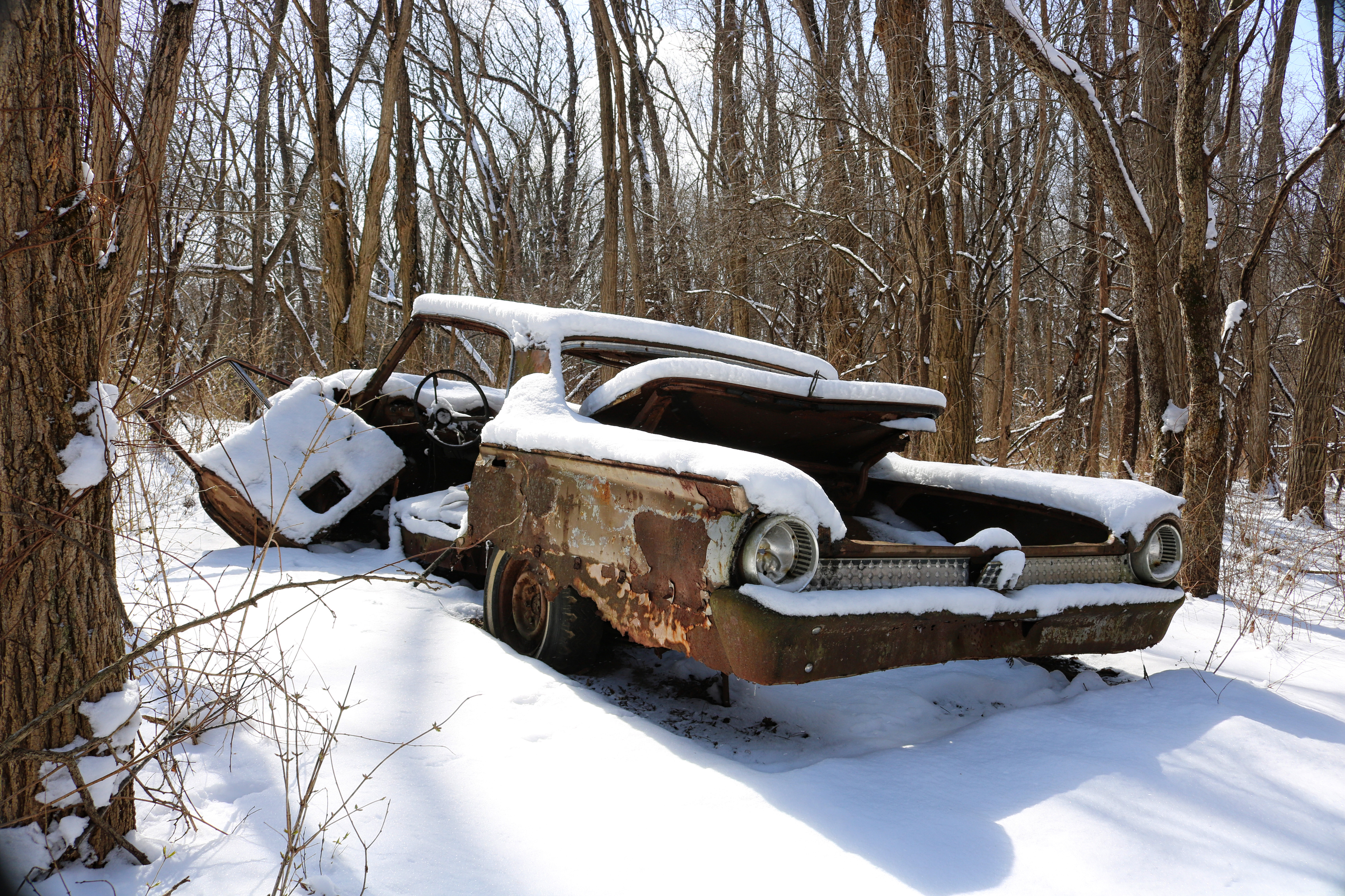 Snowy Abandoned Car In Woods Near Chicago Il By Request Oc