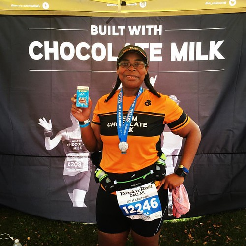 It was hot. I celebrate 13.1 miles with @builtwithchocolatemilk. I was scared to do this #halfmarathon but I finished! I wasn't breaking any records today because I just needed to prove I could make it to the end. Three months since #babyG and I'm kind of