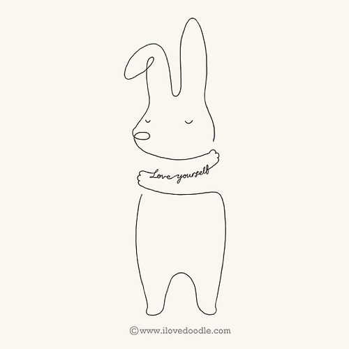 One Line Text Art Hug : Love yourself bunny by hengswee ilovedoodle hug