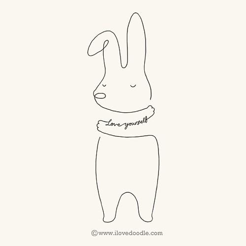 Line Art Yourself : Love yourself bunny by hengswee ilovedoodle hug
