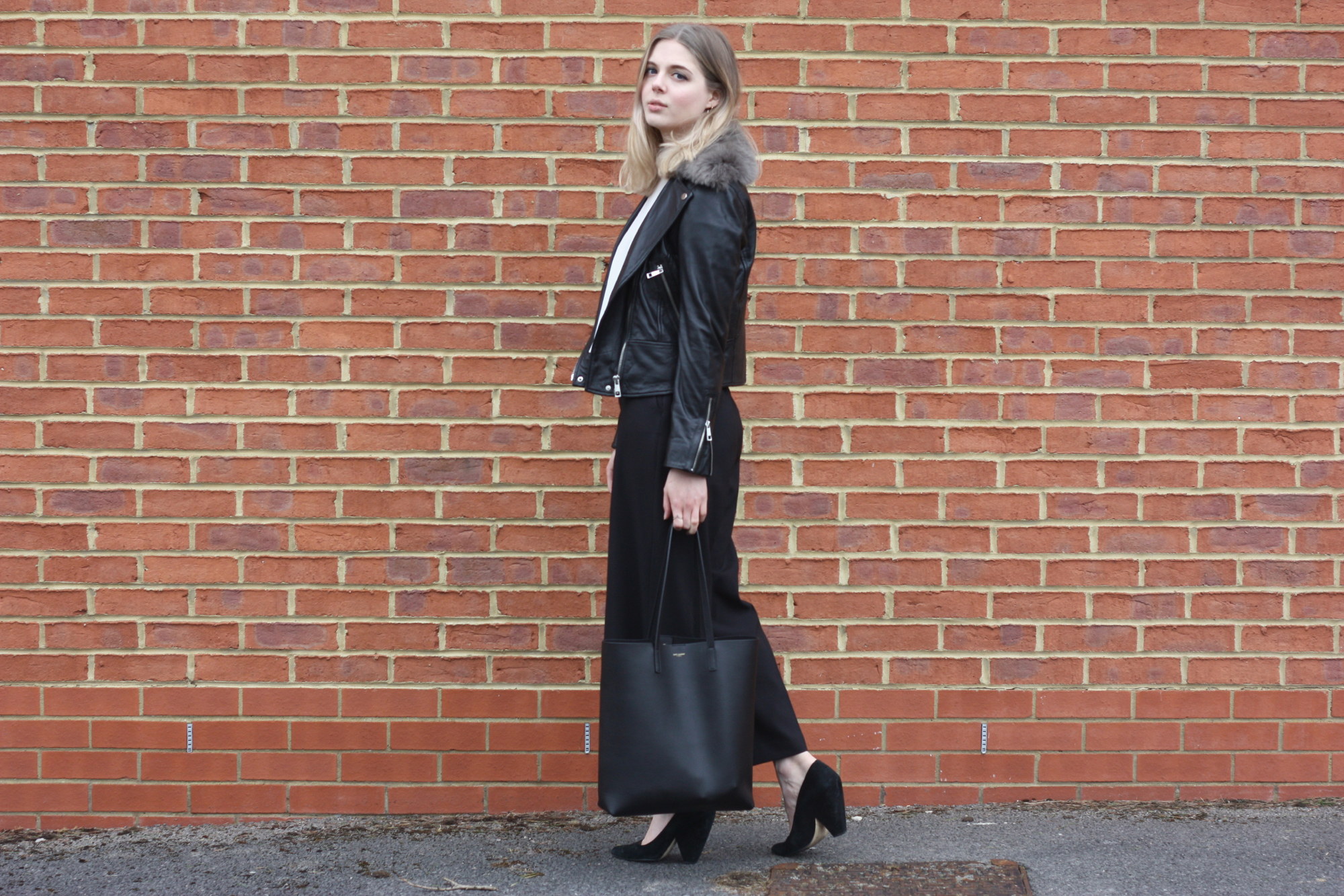 Whistles fur collar jacket, Zara black culottes and Whistles suede heels