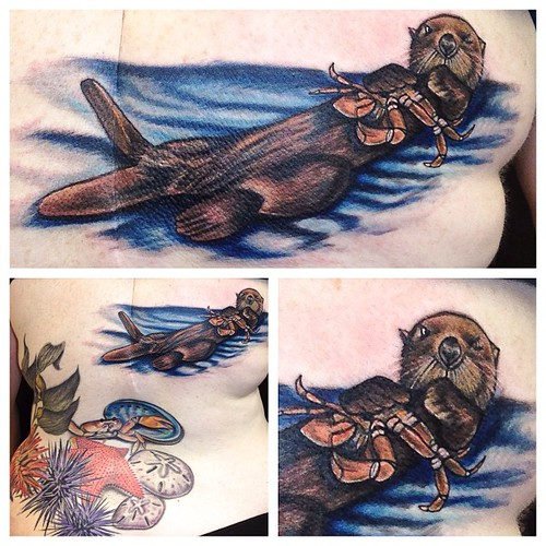 Added A Little California Sea Otter To Hilary's Back!! Fun
