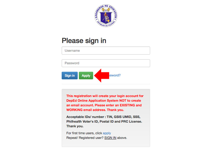 Registraton DepEd Online Application