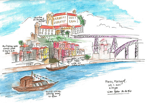 My very first travel sketch from Porto, Portugal. Artist Candace Rose Rardon