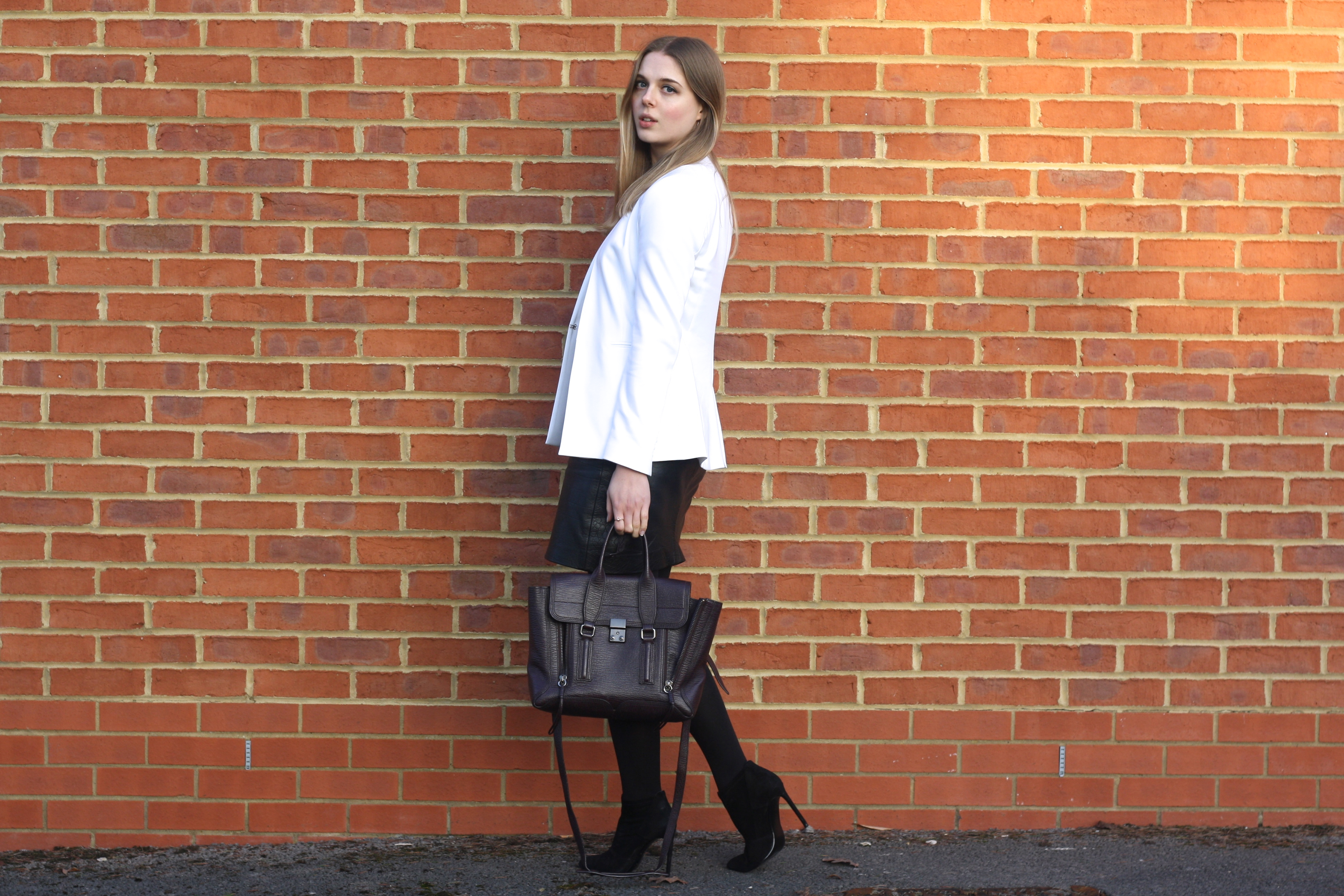 Zara white jacket, 3.1 Phillip Lim burgundy medium bag and Zara black ankle boots