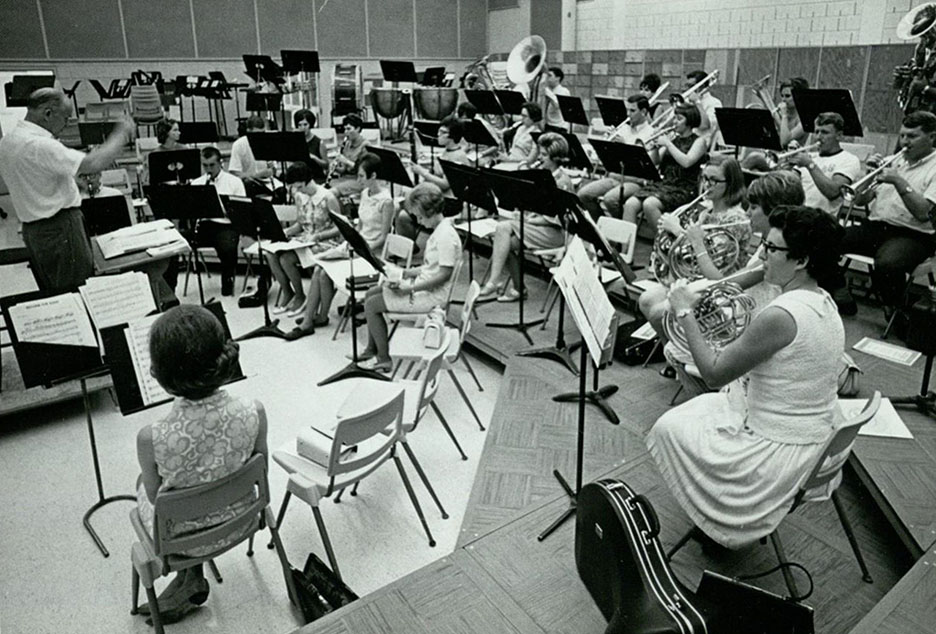 Donald I. Moore directing Golden Wave Band practice