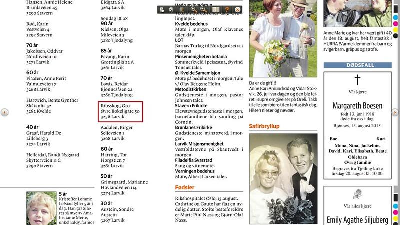 551d6a21 En ukjent Ribsskog i Larvik. Hva skal dette bety? Hm. (fra Østlands-Posten  17. august 2013)