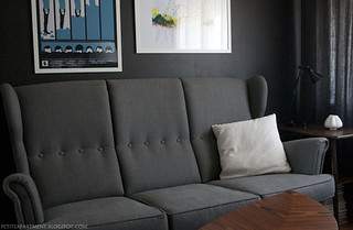 grey strandmon ikea sofa in living room with black grey walls mid century modern inspiration | by petiteapartment