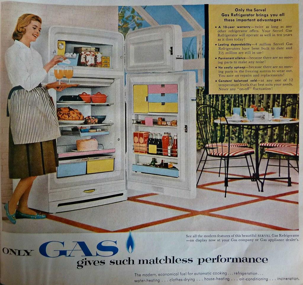 Vintage Servel Gas Refrigerator Ad 1956