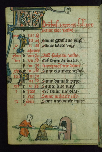 Book Of Hours Man And Woman Baking Walters Manuscript W