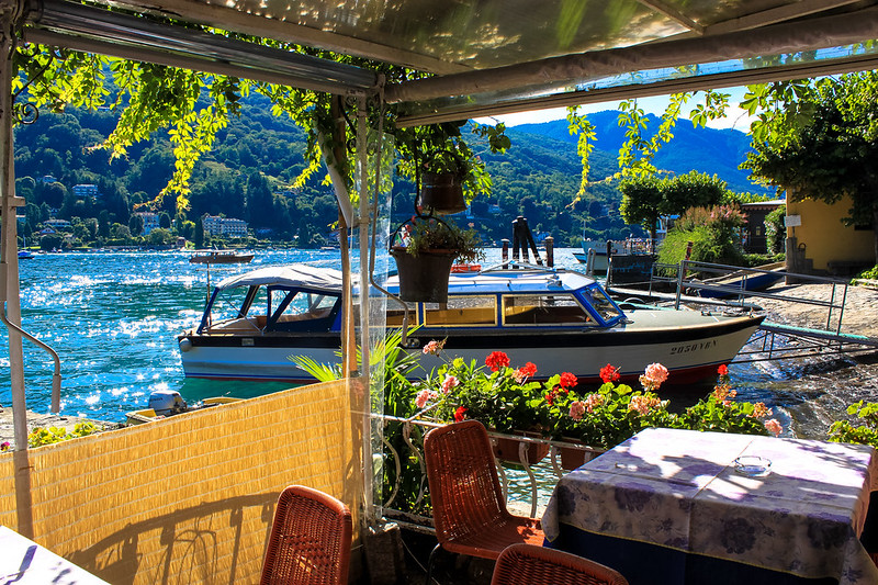Boat moored up by Isola Bella cafe, Lake Maggiore