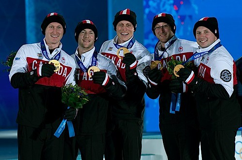Sochi Ru.Feb22-2014.Winter Olympic Games.Medal Prest.Team Canada Gold.Skip Brad Jacobs,third Ryan Fry,second E.J.Harnden,lead Ryan Harnden,Alt C.Flaxey.WCF/michael burns photo | by seasonofchampions