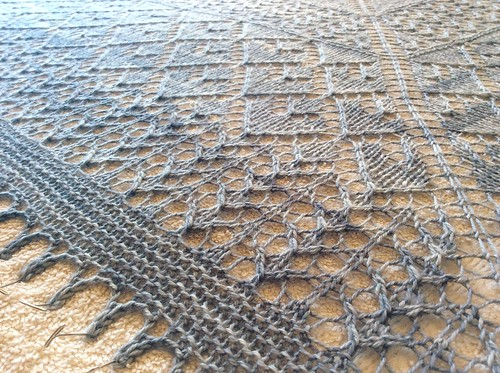 Golden Valley Shawl, blocking