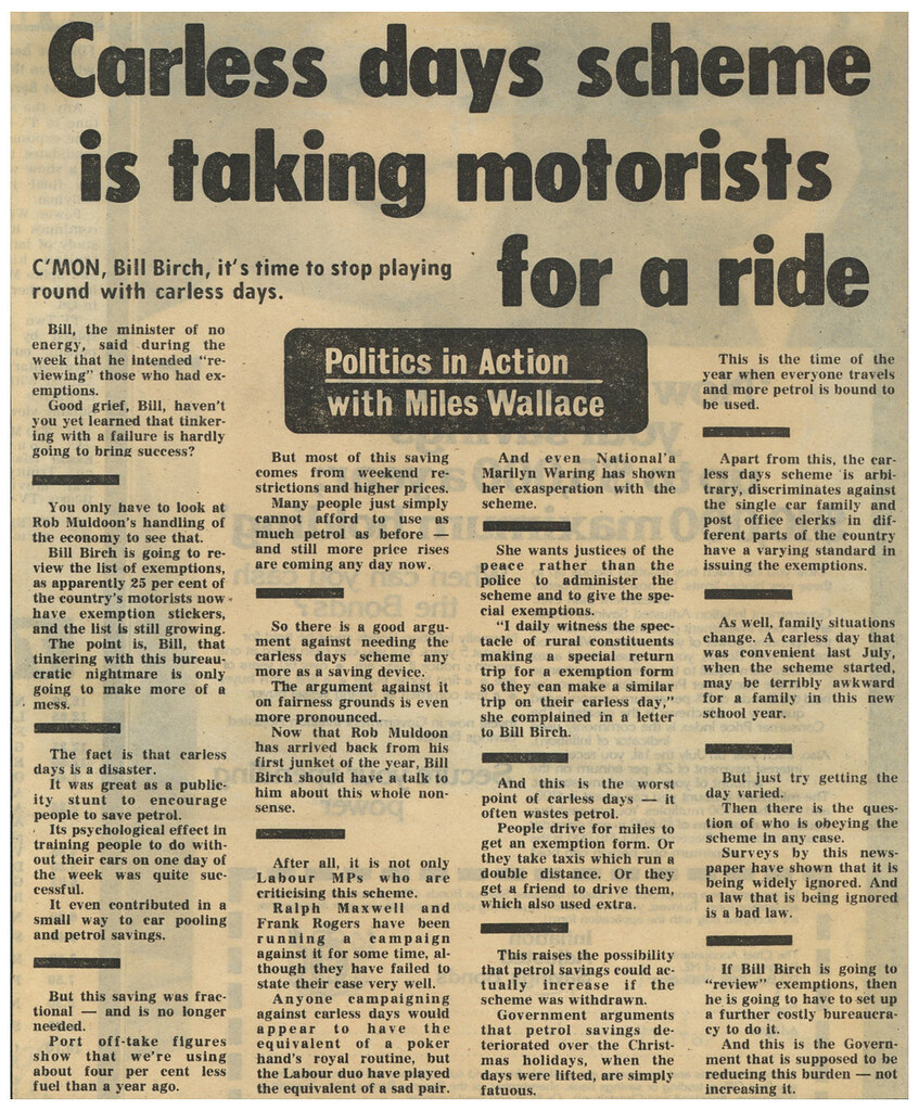 ... Carless Days Newspaper Clipping - by Archives New Zealand