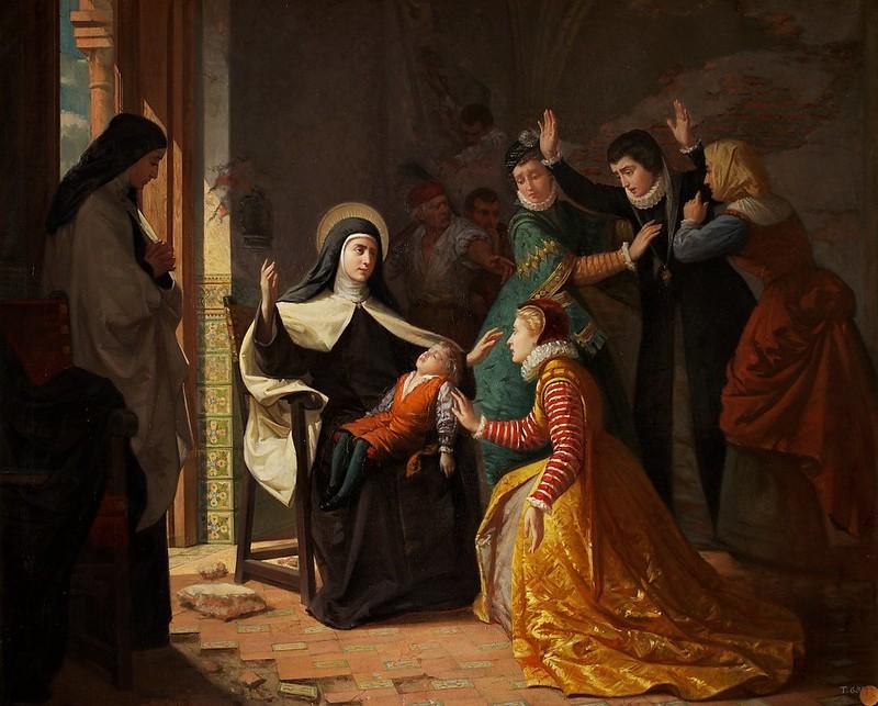 Luis de Madrazo y Kuntz - Primer milagro de Santa Teresa de Jesús. Resurrección de su sobrino don Gonzalo Ovalle, hijo de su hermana doña Juana de Ahumada