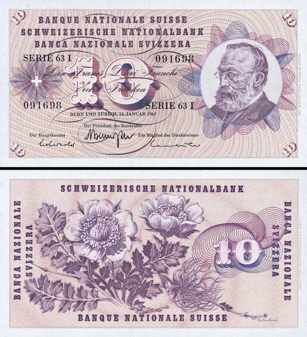 10 Frankov Švajčiarsko 1954-61, P45n