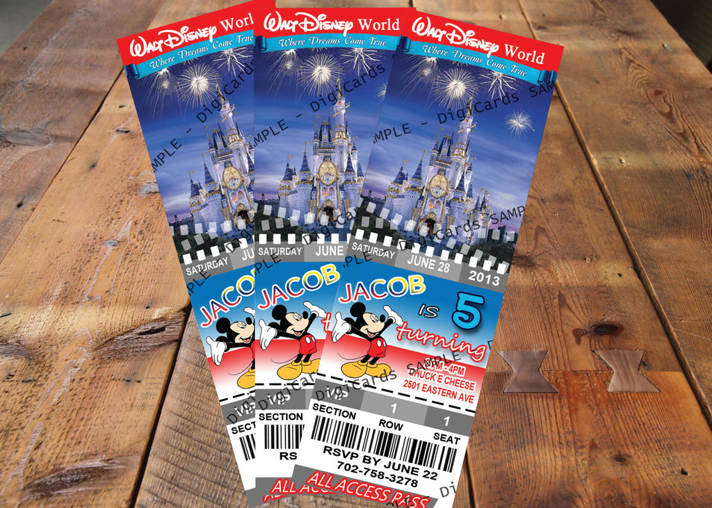 Walt Disney World Birthday Ticket Invitation Party Printable Digital File Custom Personalized Disneyworld