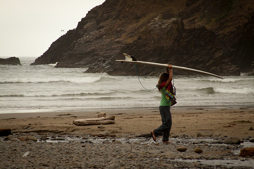 Indian Beach Native Surfer At Indian Beach On The Oregon