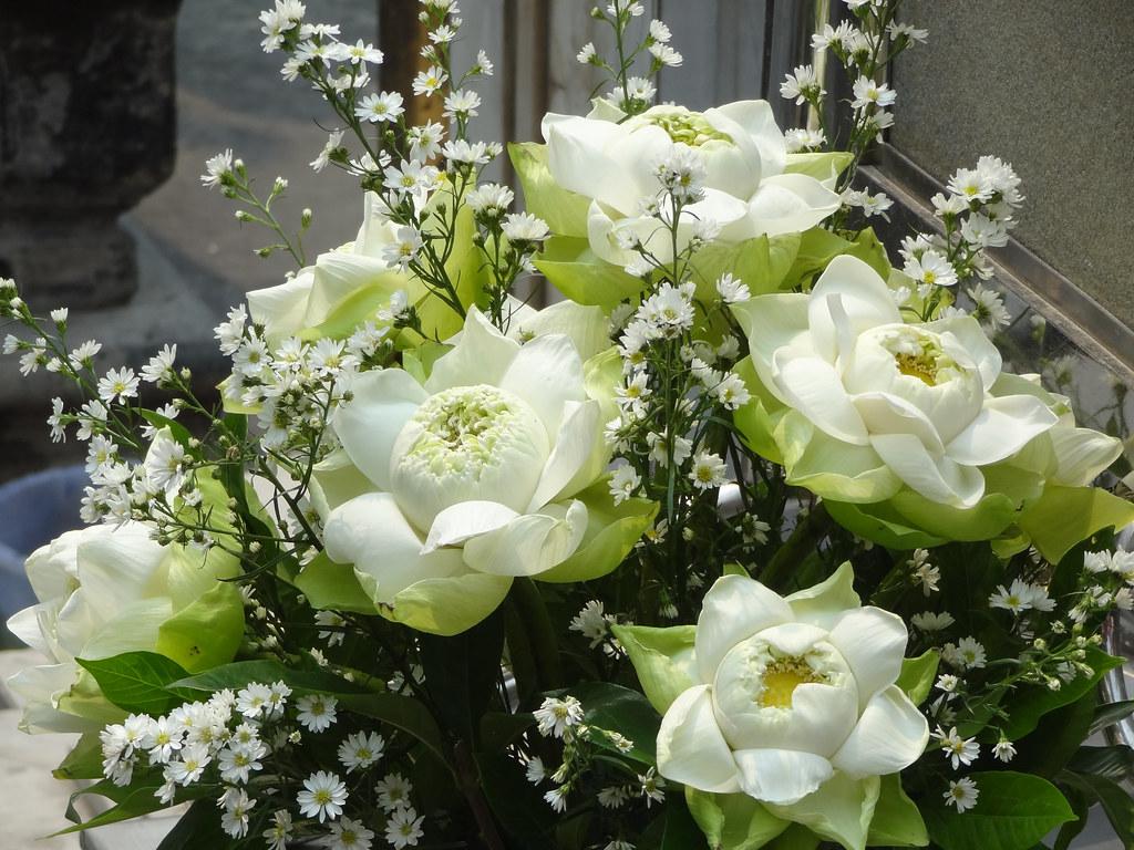 White Lotus Flower Arrangement Grand Palace Bangkok Tha Flickr