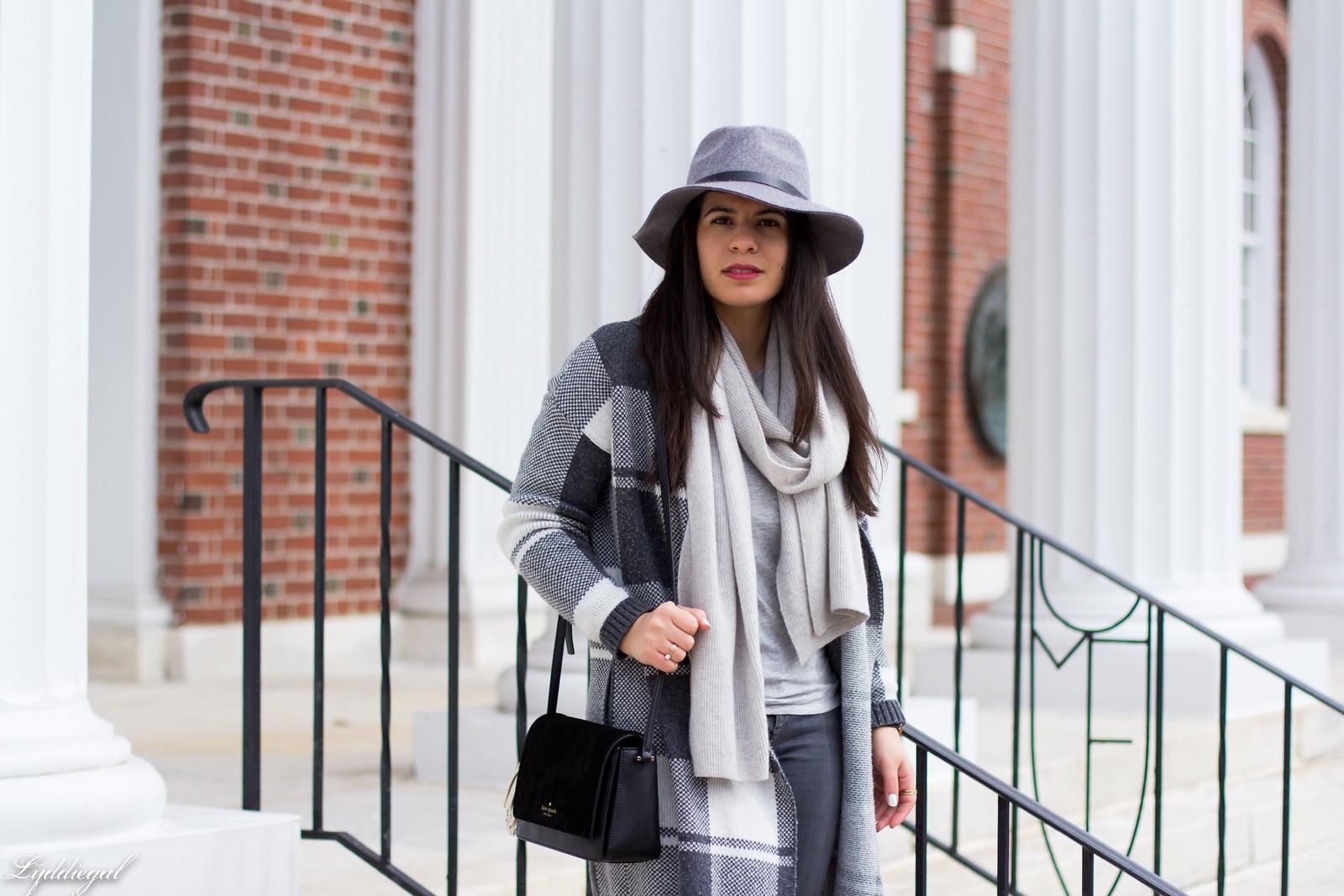 grey plaid cardigan, cashmere scarf, wool hat, grey jeans.jpg