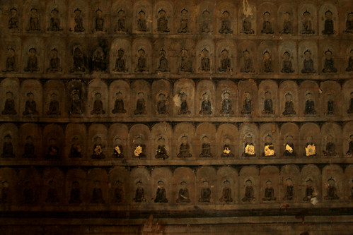 Buddha images on the interior walls of Bagan's temples