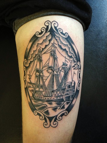dan morris rain city tattoo manchester woodcut ship flickr. Black Bedroom Furniture Sets. Home Design Ideas