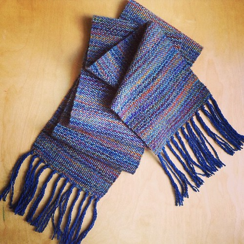 I forgot to post the finished scarf that I wove on the loom. I'm really happy with it. I want to weave another scarf next but I can't decide on the yarn. #loomweaving | by quirky granola girl
