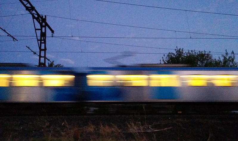 Electric train passing